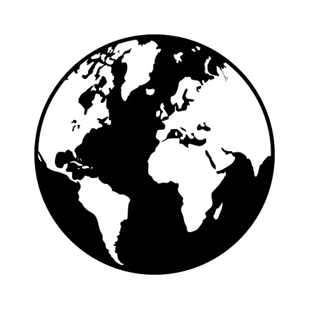 World globe map flat icon for apps and websites