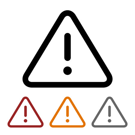 Caution alert line art icon for apps and websites 矢量图像