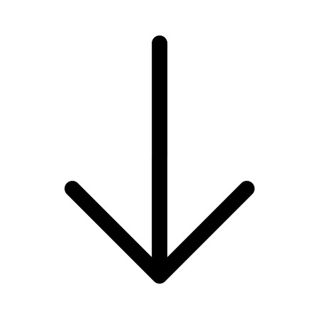 descend: Down directional arrow line art icon for apps and websites