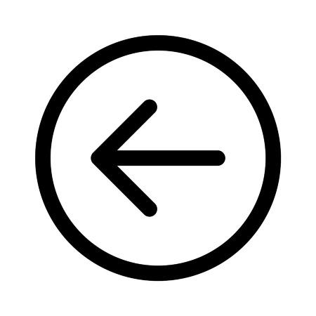 앱 및 웹 사이트를위한 왼쪽 뒤로 방향 화살표 라인 아트 아이콘