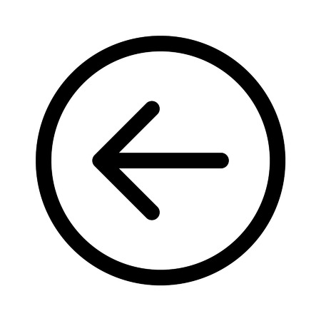 Left back directional arrow line art icon for apps and websites
