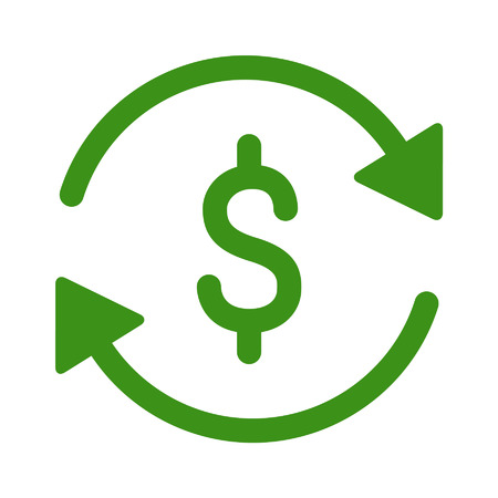 cash cycle: Automatic recurring payments line art icon for apps and websites