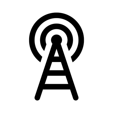 wireless tower: Wifi wireless tower line art icon for apps and websites Illustration