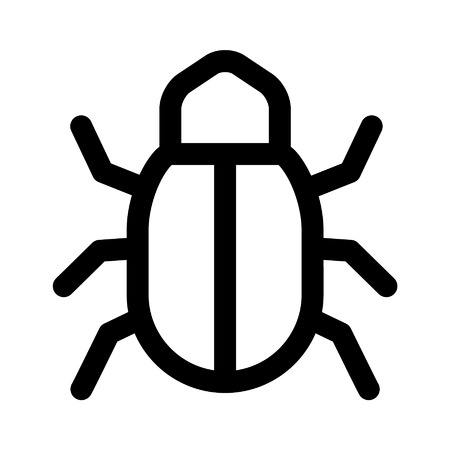 flaw: Software bug line art icon for apps and websites