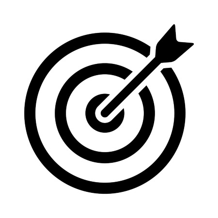 Target bullseye with arrow line art icon for apps and websites Çizim