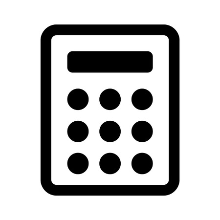 algebra: Calculator line art icon for apps and websites Illustration
