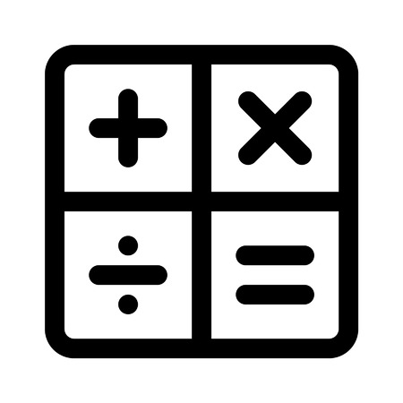 arithmetic: Calculator arithmetic signs line art icon for apps Illustration