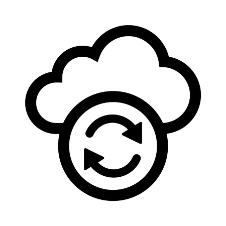 in sync: Cloud sync refresh line art icon for apps and websites