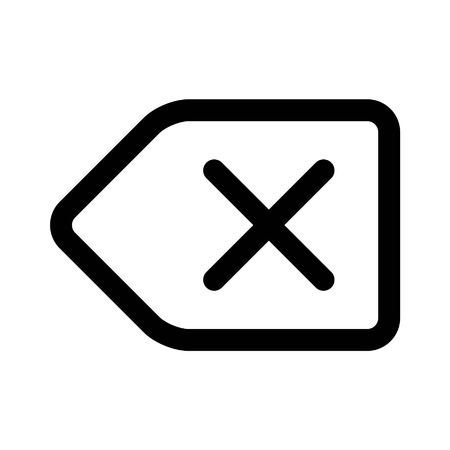 Delete backspace key line art icon for apps and websites