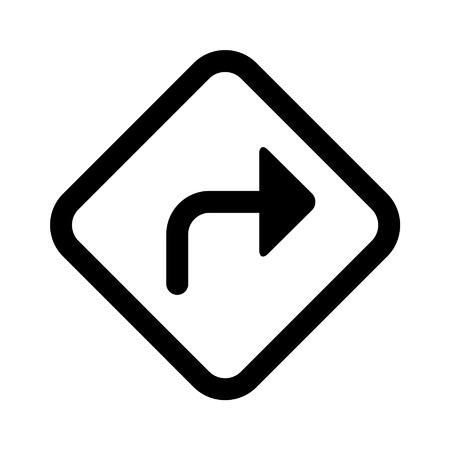 right on: Right turn road sign line art icon for apps and websites Illustration