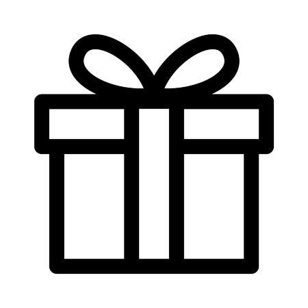 Birthday gift line art icon for apps and websites