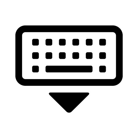 put the key: Dismiss keyboard line art icon for apps and websites