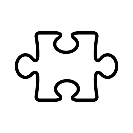 Puzzle piece line art icon for apps and websites Vectores