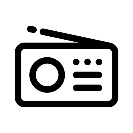 Music radio line art icon for apps and websites
