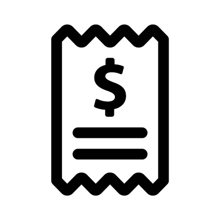 Checkout receipt line art icon for apps and websites