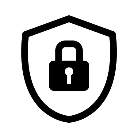 lock block: Security shield lock line art icon for apps and websites