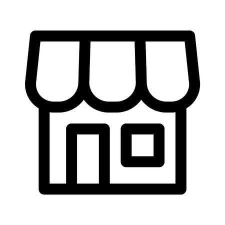 online retail store shopping line art icon for apps and websites