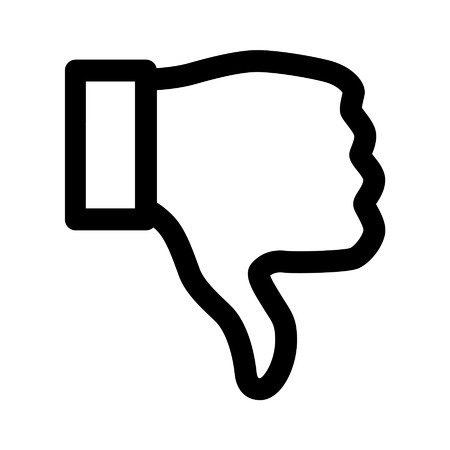 thumbs down: Thumbs down dislike line art icon for apps Illustration