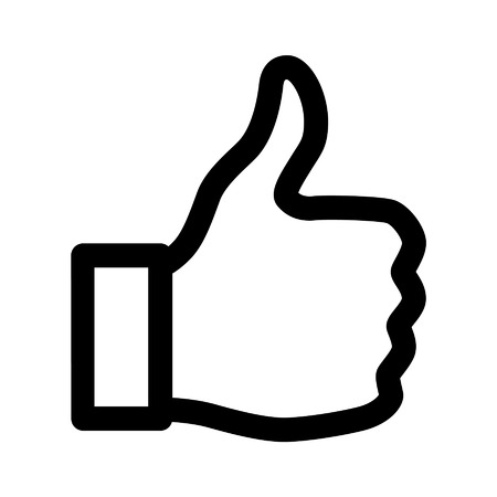 thumbs: Thumbs up like line art icon for apps and websites