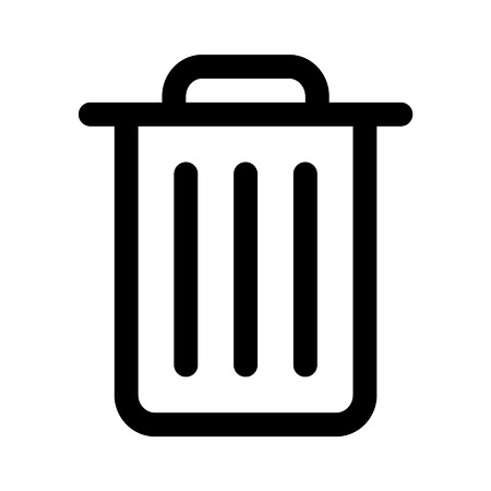 Trash can rubbish bin line art icon for apps and websites