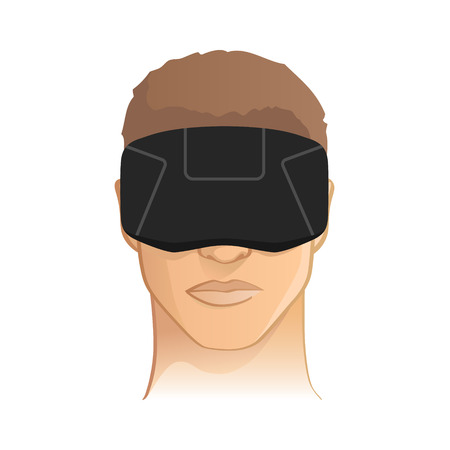 immersion: Virtual  augmented reality headset goggles vector illustration