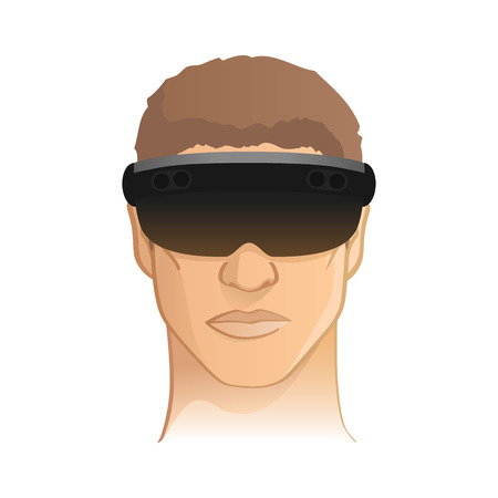 rift: Virtual  augmented reality headset goggles vector illustration