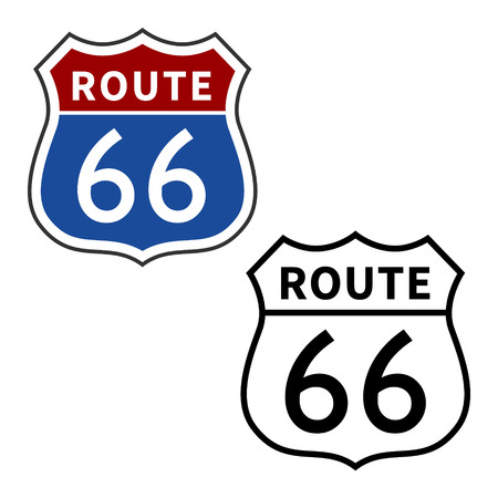 US Route 66  Will Rogers Highway vector sign Illustration