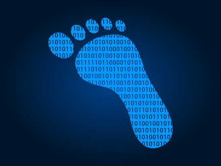 digital number: Digital footprint  foot print flat icon for apps and websites Illustration