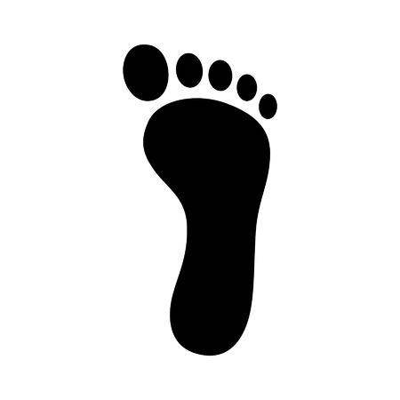 One footprint  foot print flat icon for apps and websites Çizim