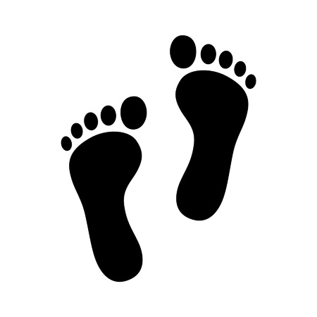 Two footprint  foot print flat icon for apps and websites