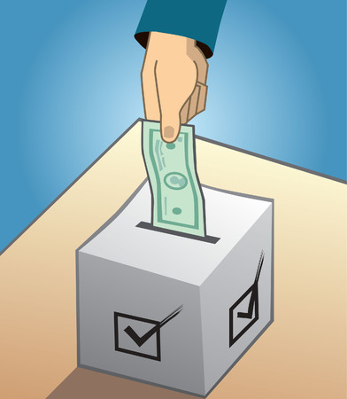 bribing: Voting with money and political bribing vector illustration