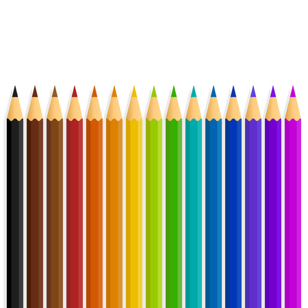 palette: A straight line of vector rainbow color  colour pencils isolated on a white background