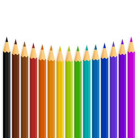 curved line: A curved line of vector rainbow color  colour pencils isolated on a white background Illustration