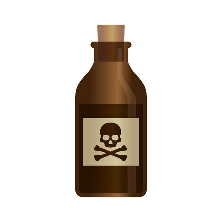 rata: Deadly botella de veneno líquido con la bandera pirata etiqueta de ilustración vectorial Vectores