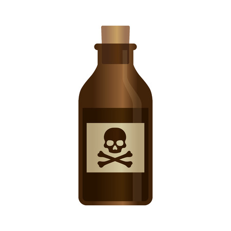 poison bottle: Deadly liquid poison bottle with crossbones label vector illustration Illustration