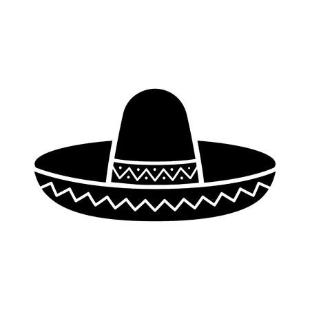 sombrero de charro: Sombrero icono plana sombrero mexicano para aplicaciones y sitios web Vectores