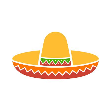 アプリとウェブサイトのためのフラット アイコンをカラフルなソンブレロ メキシカン ハット