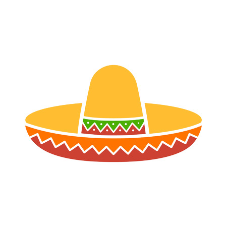 sombrero: Sombrero sombrero mexicano icono plana colorido para aplicaciones y sitios web