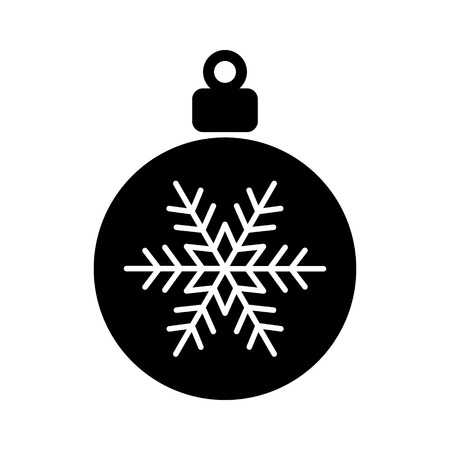 dec  25: Christmas tree ornament with snowflake flat icon for apps and websites