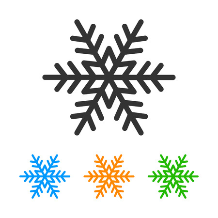 snow crystals: Perfect winter snowflake with star line art icon for apps and websites