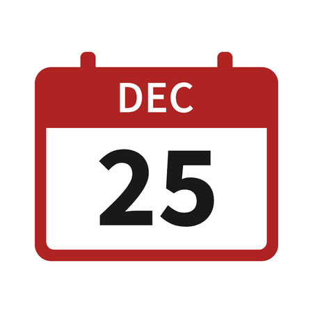 dec  25: Christmas day holiday on December 25  25th calendar flat icon