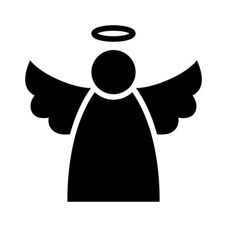 ange gardien: Ange de Noël avec des ailes et un halo icône plat pour les applications et sites Web