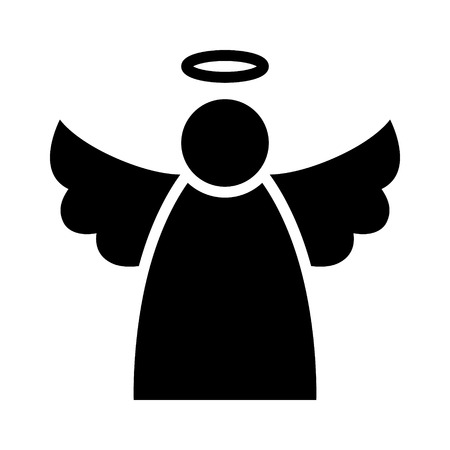 angel wing: Christmas angel with wings and halo flat icon for apps and websites