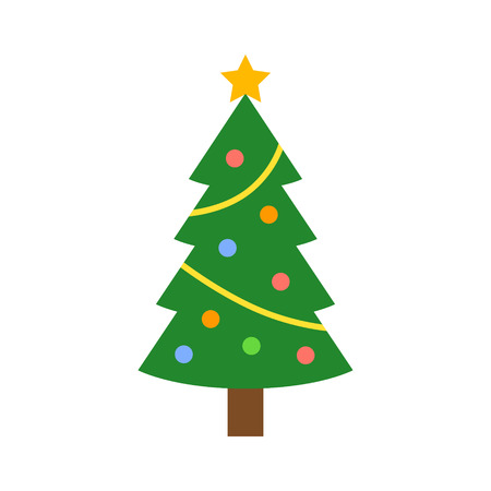 trees silhouette: Christmas tree with decorations and star flat icon for apps and websites