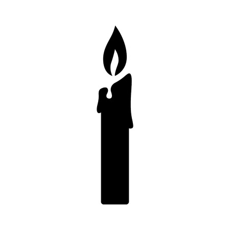 Lit candle  candlestick flat icon for apps and websites Ilustração