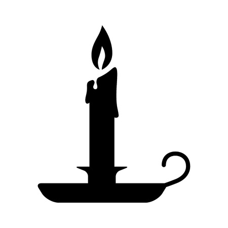 candle holder: Old fashioned lit candle  candlestick on holder flat icon for apps and websites Illustration