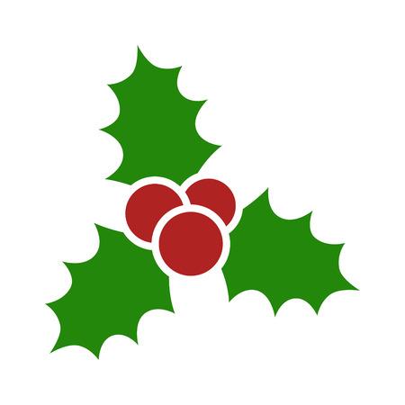 muerdago: Icono plano de muérdago de Navidad para aplicaciones y sitios web Vectores
