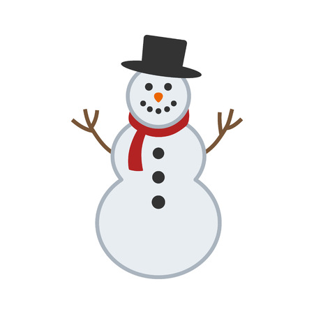 Happy winter snowman with hat and scarf vector illustration for apps and websites