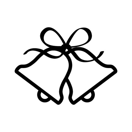 jingle bells: Christmas jingle bells with ribbon bow line art icon for apps and websites
