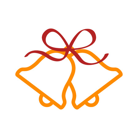 bow ribbon: Christmas jingle bells with red ribbon bow line art icon for apps and websites Illustration